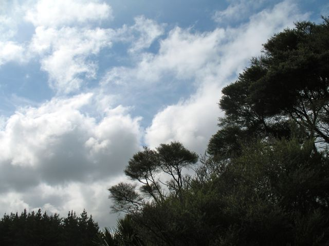 Walking barefoot under clouds